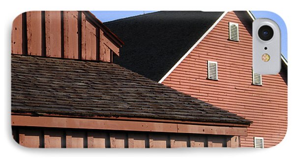 Red Barns And Blue Sky With Digital Effects Phone Case by William Kuta