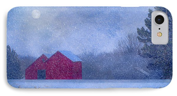 Red Barns In The Moonlight IPhone Case by Nikolyn McDonald