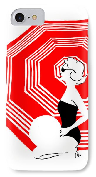IPhone Case featuring the digital art Red Beach Umbrella by Cindy Garber Iverson