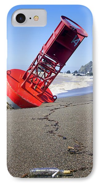 Red Bell Buoy On Beach With Bottle IPhone Case