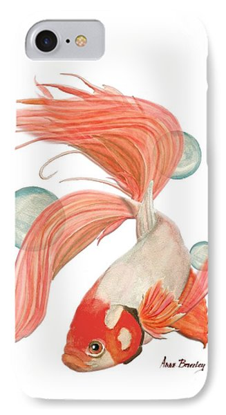 Red Beta Fish IPhone Case by Anne Beverley-Stamps
