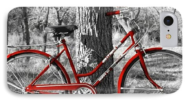 Red Bicycle II IPhone Case by James Granberry
