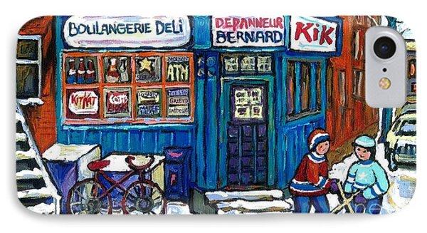 Red Bike At Boulangerie Bernard Street Hockey Paintings Best Canadian Winter Scene Art IPhone Case by Carole Spandau