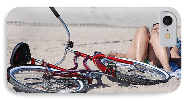 Red Bike On The Beach Phone Case by Rob Hans