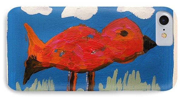 Red Bird In Grass IPhone Case