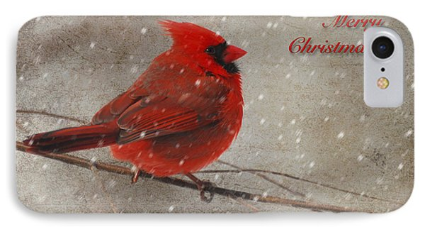 Red Bird In Snow Christmas Card IPhone 7 Case by Lois Bryan