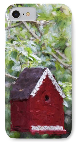 Red Birdhouse Painterly Effect IPhone Case by Carol Leigh