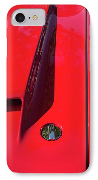 IPhone Case featuring the photograph Red Black And Shapes On Hot Rod Hood by Gary Slawsky
