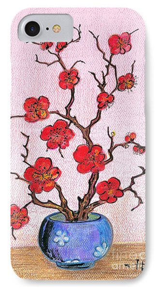 Red Bloom In The Blue Vase IPhone Case