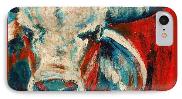 Red-blue Brahma Bull IPhone Case by Summer Celeste
