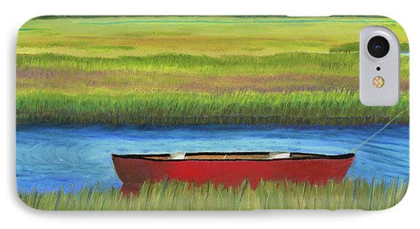 Red Boat - Assateague Channel IPhone Case by Arlene Crafton