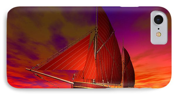 Red Boat At Sunset IPhone Case by Sandra Bauser Digital Art