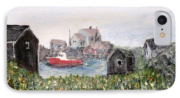 Red Boat In Peggys Cove Nova Scotia  IPhone Case by Ian  MacDonald