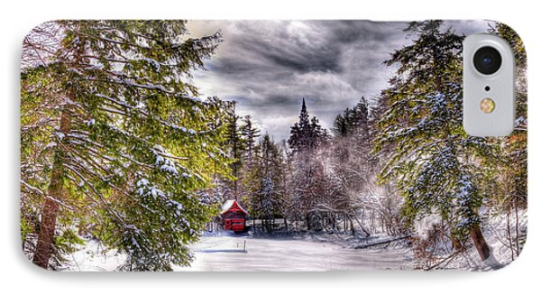 IPhone Case featuring the photograph Red Boathouse After The Storm by David Patterson