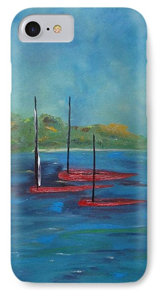 IPhone Case featuring the painting Red Boats by Judith Rhue