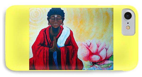 Red Buddha Lotus IPhone Case by Jackie Carpenter