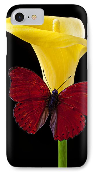 Red Butterfly And Calla Lily IPhone Case