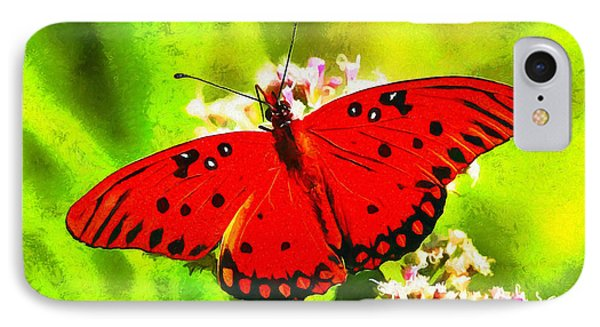 Red Butterfly IPhone Case by Leonardo Digenio