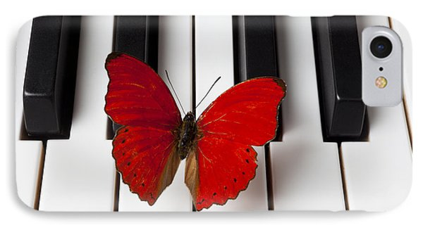 Red Butterfly On Piano Keys Phone Case by Garry Gay