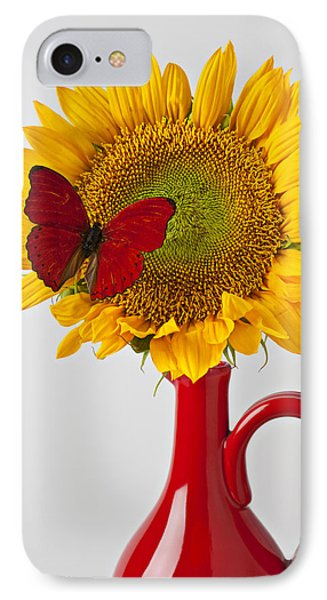 Red Butterfly On Sunflower On Red Pitcher Phone Case by Garry Gay