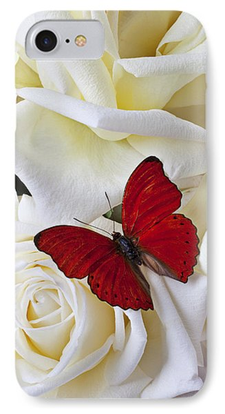 Butterfly iPhone 7 Case - Red Butterfly On White Roses by Garry Gay