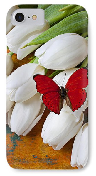 Red Butterfly On White Tulips Phone Case by Garry Gay