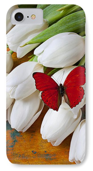 Red Butterfly On White Tulips IPhone Case