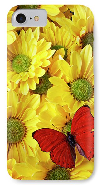 Red Butterfly On Yellow Mums Phone Case by Garry Gay