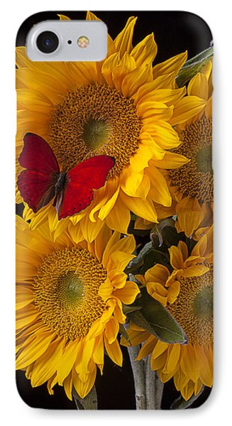 Red Butterfly With Four Sunflowers Phone Case by Garry Gay
