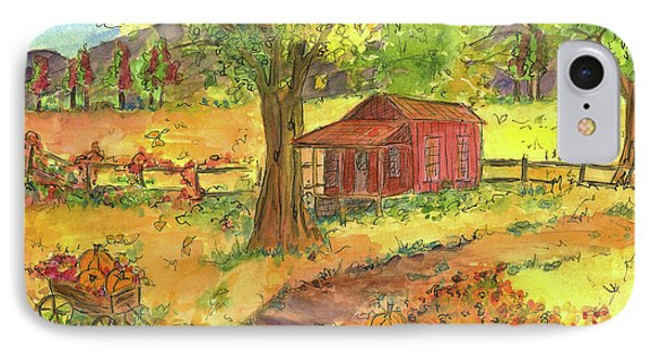IPhone Case featuring the painting Red Cabin In Autumn  by Cathie Richardson