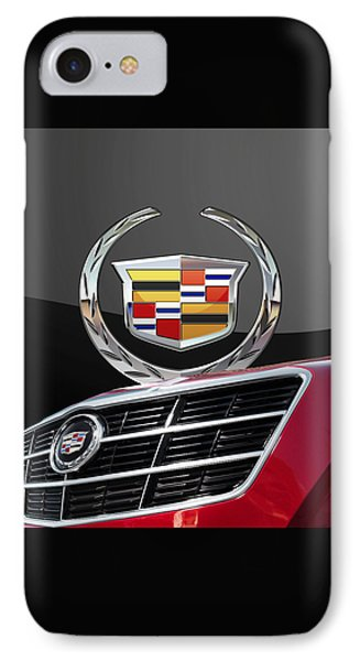 Red Cadillac C T S - Front Grill Ornament And 3d Badge On Black Phone Case by Serge Averbukh