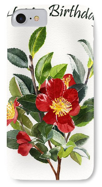 Red Camellia Birthday Card 1 IPhone Case
