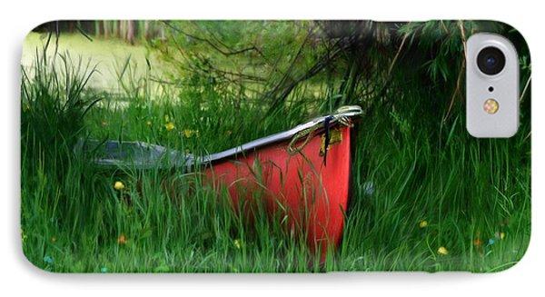 Red Canoe IPhone Case by Debra Baldwin
