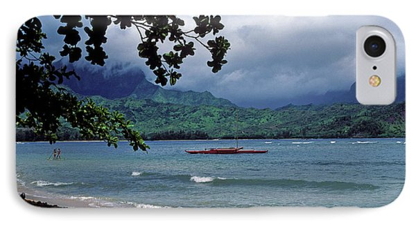 Red Canoe On Hanalei Bay Phone Case by Kathy Yates