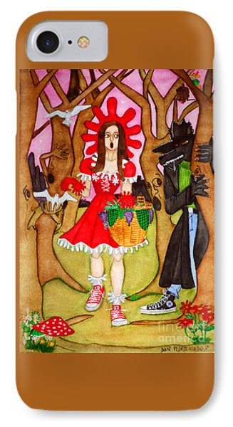 IPhone Case featuring the painting The Little Riding Hood And The Wolf In Chucks by Don Pedro De Gracia