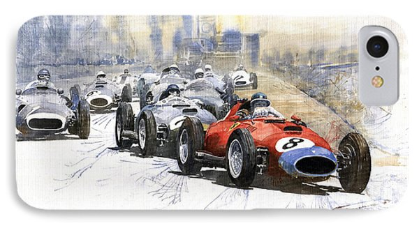 1957 Red Car Ferrari 801 German Gp 1957  IPhone Case by Yuriy  Shevchuk
