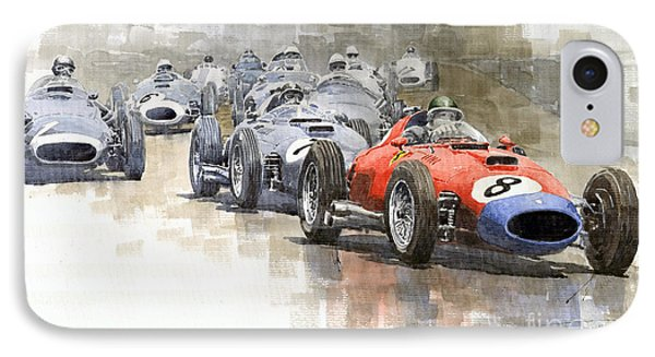 Red Car Ferrari 801mike Hawthorn German Gp 1957  IPhone Case by Yuriy  Shevchuk