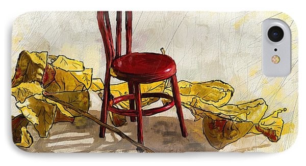 Red Chair And Yellow Leaves IPhone Case by Debra Baldwin