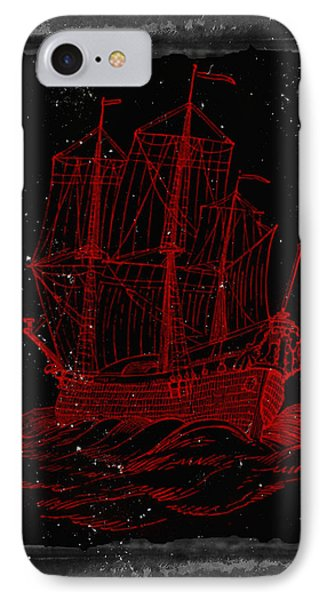 Red Clipper Ship Starry Night IPhone Case