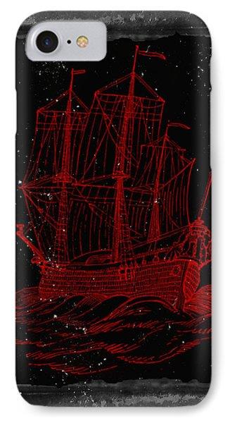 Red Clipper Ship Starry Night IPhone Case by Brandi Fitzgerald
