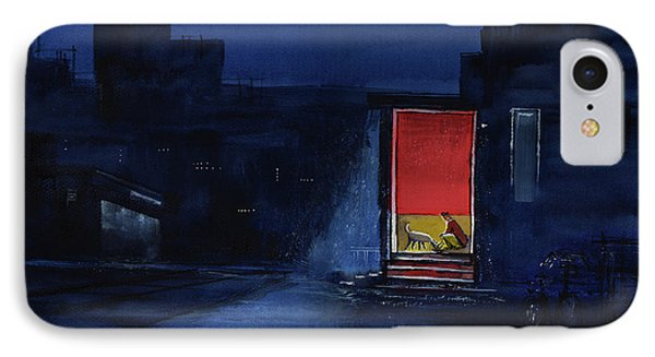 IPhone Case featuring the painting Red Curtain by Anil Nene
