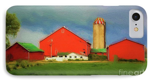 Red Dairy Farm IPhone Case by Anthony Djordjevic