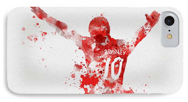 Wayne Rooney iPhone 7 Case - Red Devil by Rebecca Jenkins