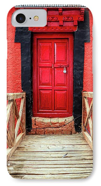 IPhone Case featuring the photograph Red Door At A Monastery by Alexey Stiop