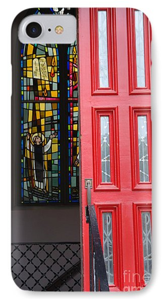 Red Door At Church In Front Of Stained Glass Phone Case by David Bearden