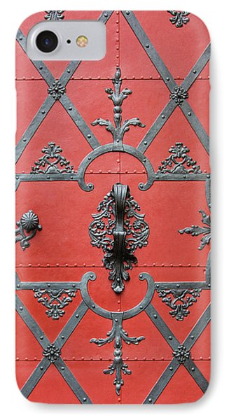 IPhone Case featuring the photograph Red Door In Prague - Czech Republic by Melanie Alexandra Price