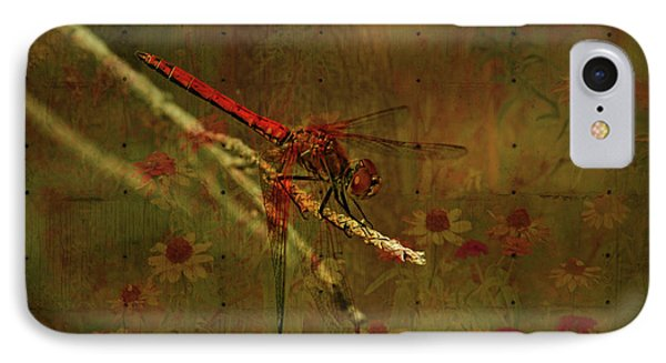 Red Dragonfly Dining Phone Case by Bonnie Bruno
