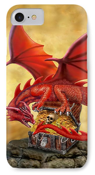 Red Dragon's Treasure Chest IPhone Case by Glenn Holbrook