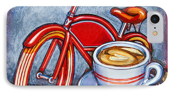 Red Electra Delivery Bicycle Cappuccino And Amaretti IPhone Case by Mark Jones