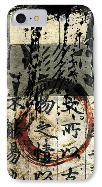 IPhone Case featuring the mixed media Red Enso Collage by Carol Leigh